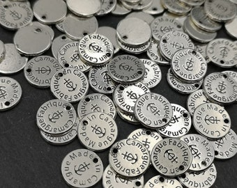 """Tags / label """"Made in Camargue"""" o1omm - finish Tin round antique silver"""