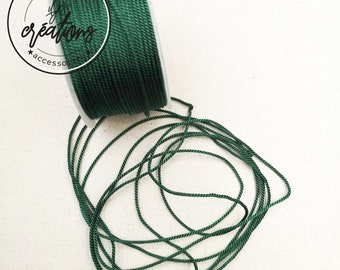"""4m of braided cord 2 strands type rope """"Green Fir"""" ø1.5mm"""