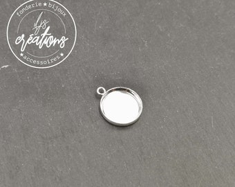 Pendant ø10mm + 1 ring - brass silver finish 925