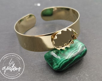 New - Bracelet with bowl (crown style) 13mm wide with 13x18mm oval bowl in gold finish brass