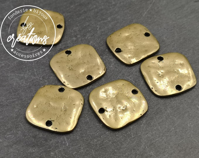 Connector hammered effect 20x20- tin tin brass finish - made in France