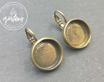 New - Round earrings with bowl ø14x3.5mm with sleepers - tinplate/brass brass finish brass