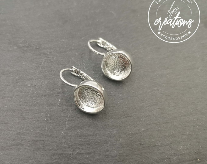 Round earrings ø10mm with bowl ø7x3mm with sleepers - tinplate/brass silver finish 925