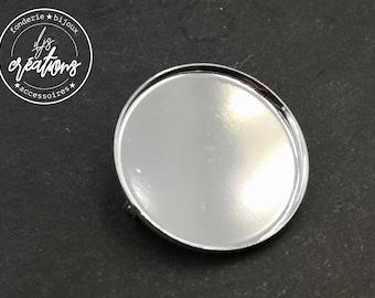Round brooch - 35x2.5mm brass finish silver 925