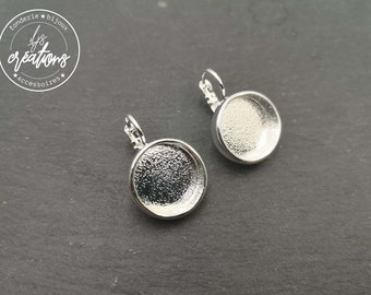 Round earrings ø16mm with bowl ø14x3,5mm with sleepers - tinplate/brass silver finish 925