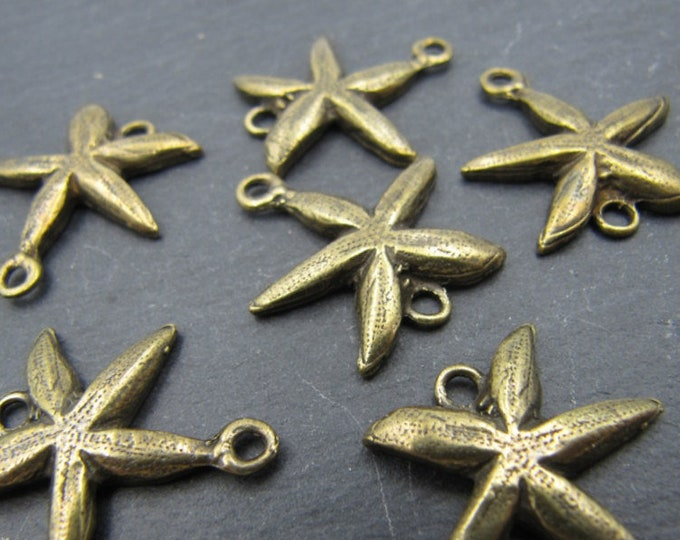 Made in france - Starfish - antique finish brass connector - 20mm