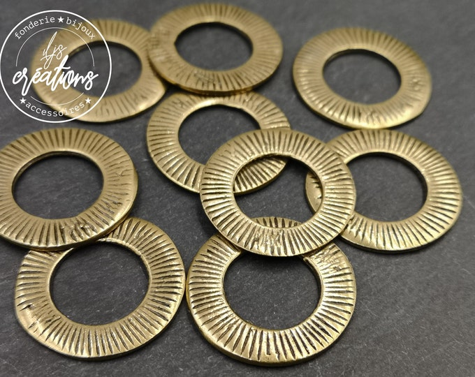Round connector - 25mm- tin tin brass finish - made in France