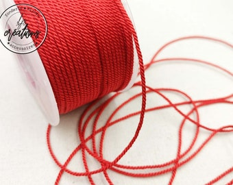 """4m braided cord 2 strands type """"Red"""" string - 1.5mm"""