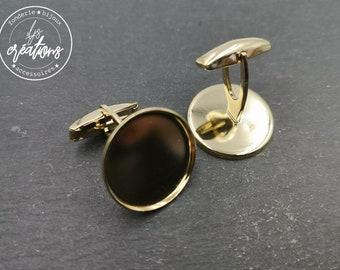 New - Round cufflinks - 20x1.5mm - Gold finish brass