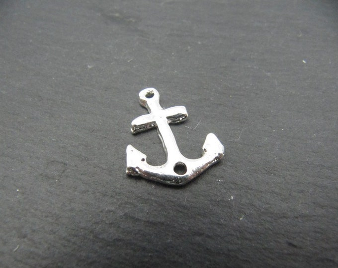 Made in france - anchor Navy - 925 Silver finish pewter - 14x18mm