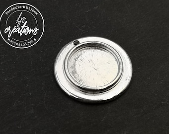 Support round pendant ø27mm with bowl of ø16x1,5mm - tin finish silver 925 - Made in France