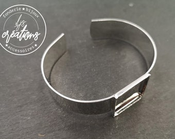Bracelet ribbon 13mm and square bowl of 19x19x2mm - Brass silver finish 925