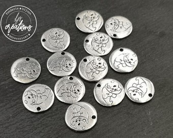 """Medal """"Panda"""" ø12mm - tinplate antique silver finish - made in france"""