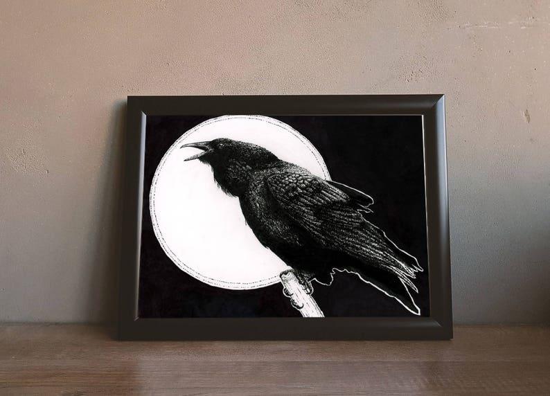 Raven 8x10\u201d drawing GICL\u00c9E PRINT