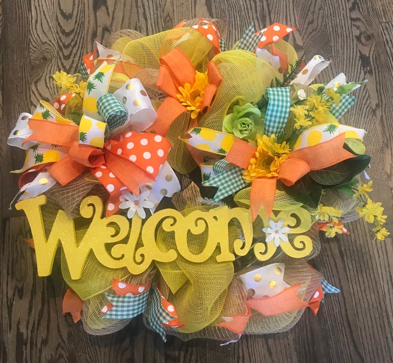 WELCOME WREATHSummer WreathSpring Wreath Burlap Welcome Wreath Door Decor Year Round Wreath Welcome Floral Wreath Burlap Wreath