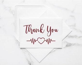 Nurse Thank You Card / Healthcare Note Card: Metallic