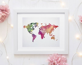 world map print, explore print, world map poster, travel map, watercolor world map, watercolor map, printable world map, world map