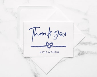 personalized nautical thank you card set, wedding thank you card, nautical wedding, custom wedding thank you, engagement thank you card
