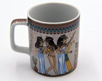 Egyptian Coffee Mug - features pharaohs design of Musicians Ancient Egyptian Girls Highlighted with gold paint - EGM03