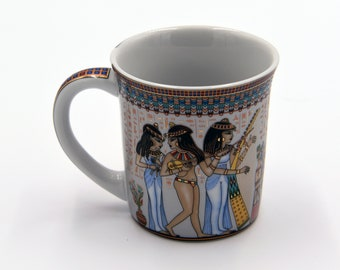 Egyptian Coffee Mug - features pharaohs design of Musicians Ancient Egyptian Girls Highlighted with gold paint - EGM07