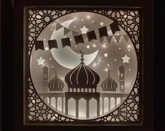 Ramadan Paper Art Light Shadow Box, 3D papercut light box, 3D, Ramadan lantern