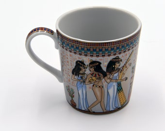 Egyptian Coffee Mug - features pharaohs design of Musicians Ancient Egyptian Girls Highlighted with gold paint - EGM08