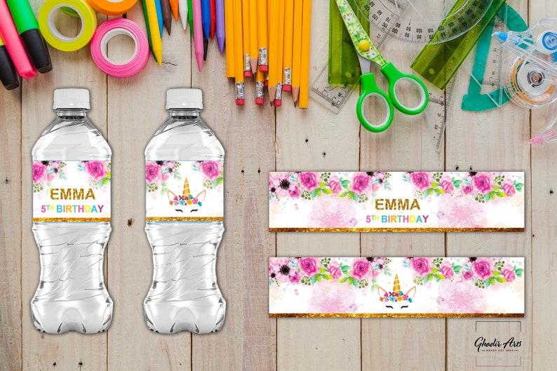 Unicorn Water Bottle Labels /Unicorn Birthday / Unicorn Baby image 0
