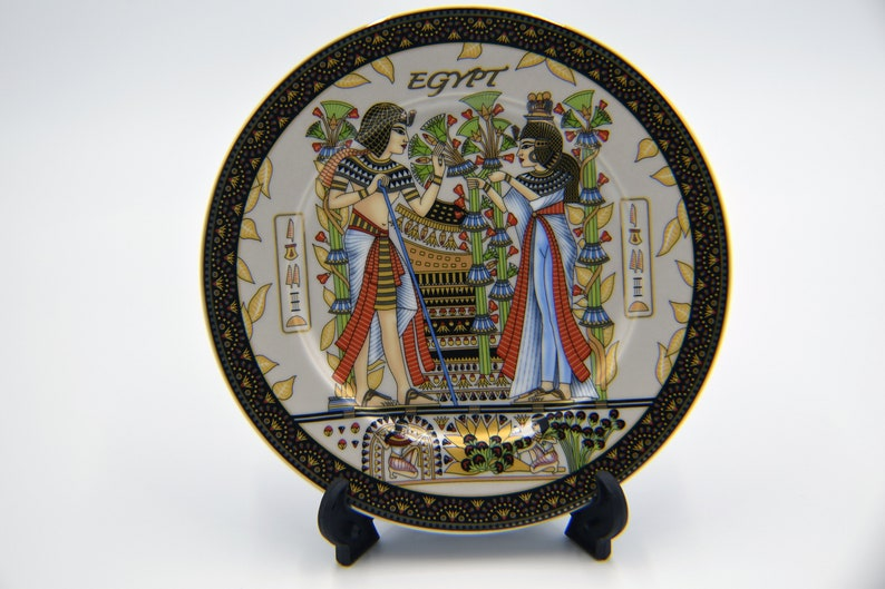 Egyptian Decorative Plate with stand 21 cm / 8.25'' Tut Wedding-EGP016