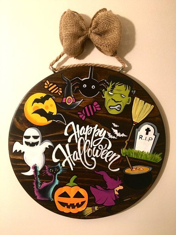 Halloween Decorations Halloween Door Hangers Halloween Etsy