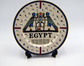 Egyptian Decorative Plate with stand 26 cm / 10.25'' Inch with 4 variant pharaohs designs Highlighted with gold paint - EGP019