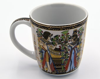 Egyptian Coffee Mug with 2 variant pharaohs designs Highlighted with gold paint - EGM02