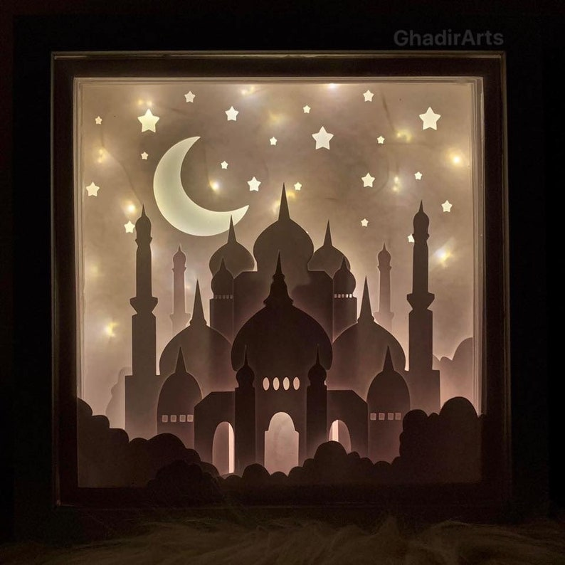 Ramadan Paper Art Light Shadow Box 3D papercut light box 3D image 0