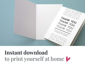 Printable elegant wedding PDF thank you cards | Download Gatsby wedding thank you card PDF | Gatsby wedding thank you instant download