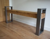Brushed steel and oak bench