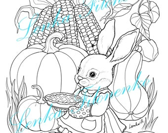Thanksgiving Bunny Coloring page for adults LINE ART, PDF download and print