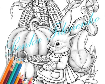 Thanksgiving Bunny Coloring page for adults GREY SCALE, PDF download and print