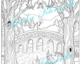 Halloween Hedgehog Coloring page for adults LINE ART, PDF download and print