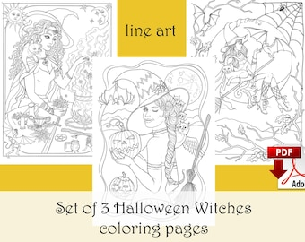 Set of 3 Halloween Coloring pages LINE ART, Witch coloring - PDF download and print