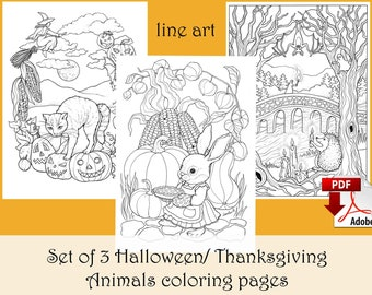 Set of 3 Halloween/ Thanksgiving Animal Coloring pages LINE ART - PDF download and print