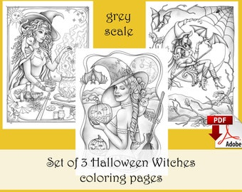 Set of 3 Halloween Coloring pages GREY SCALE, Fall Witch Autumn - PDF download and print