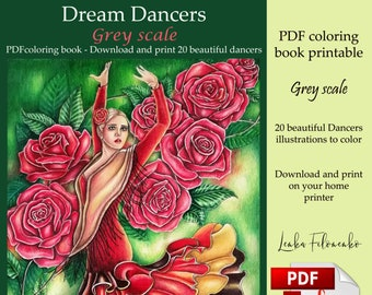 Dream Dancers GREYSCALE pdf Adult Coloring book download and print 21 images