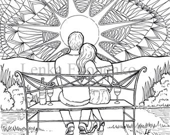 Beautiful Summer House In The Sunset coloring page | Free ... | 270x340