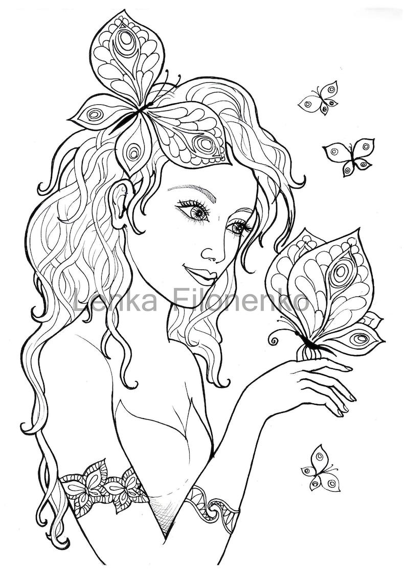 Coloriage Pour Adultes Coloriage Page Fée Avec Des Papillons Etsy