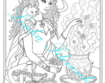Witch Coloring page, Line art - PDF download and print