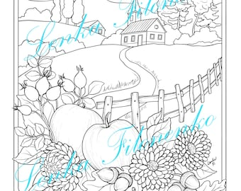 Autumn Fall Coloring page for adults LINE ART, PDF download and print