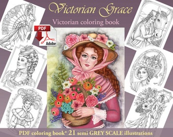 Victorian Grace GREY SCALE pdf Adult Coloring book download and print 21 images