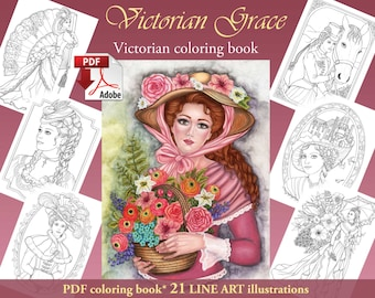 Victorian Grace LINE ART pdf Adult Coloring book download and print 21 images