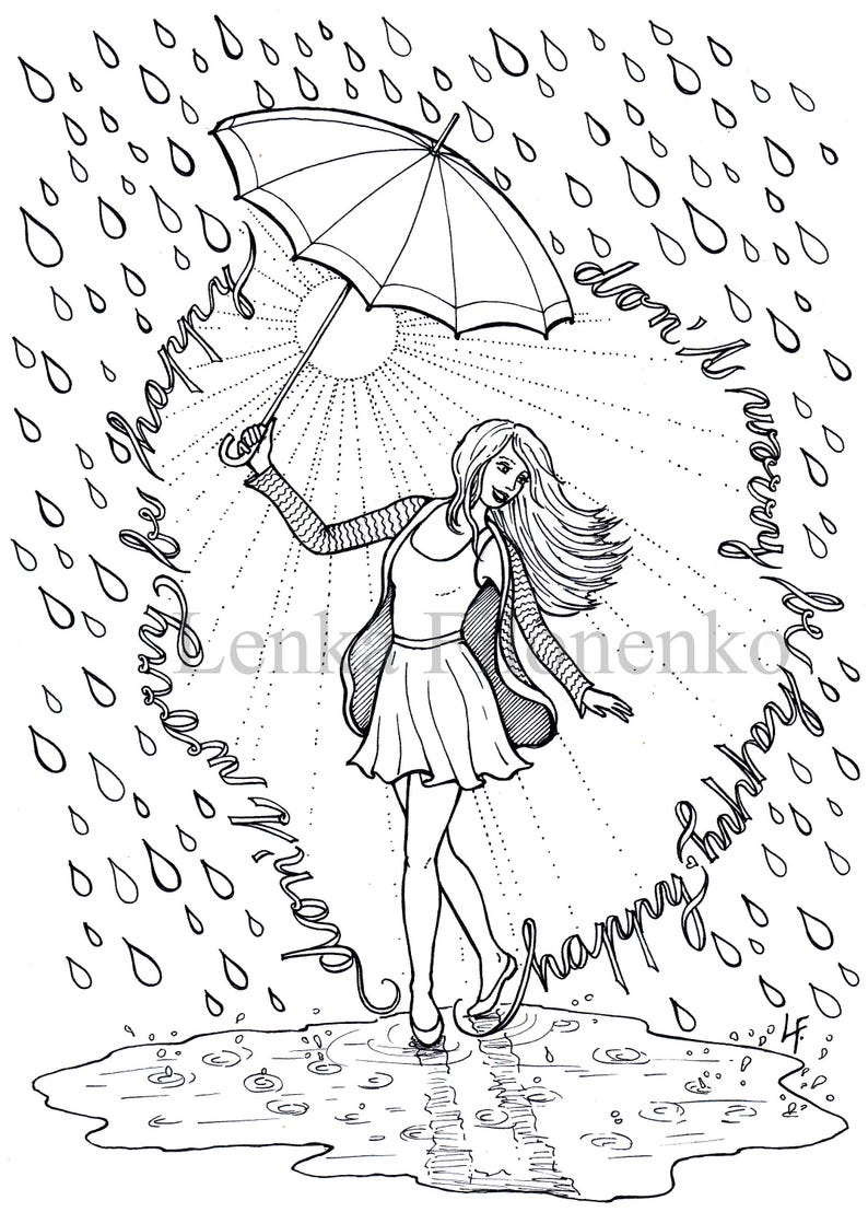 660 Coloring Pages For Adults Rain Images & Pictures In HD
