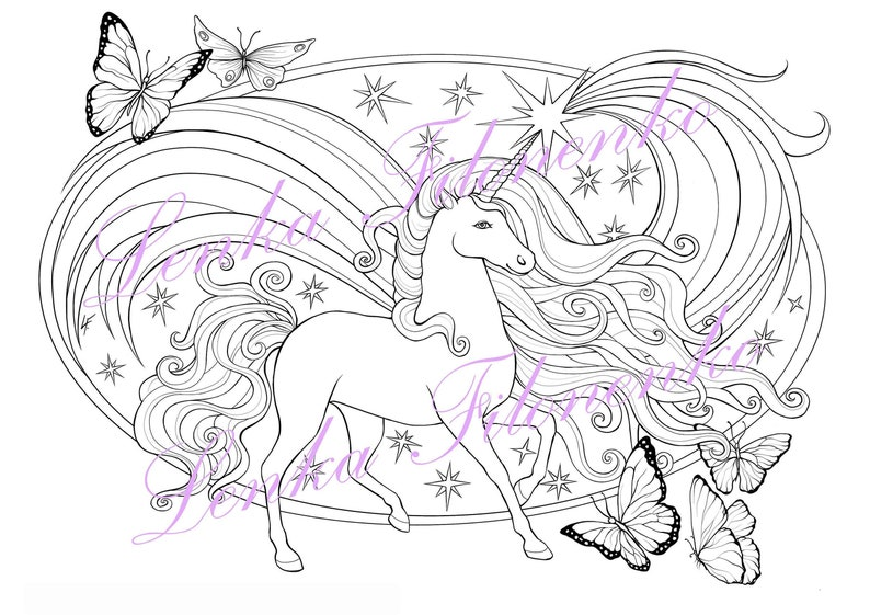 Coloring page for adults Unicorn Line art PDF download and ...