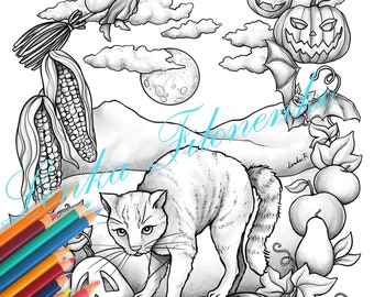 Halloween Cat Coloring page for adults GREY SCALE, PDF download and print